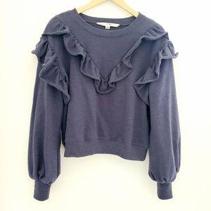 Vanilla Star Ruffled Blue Sweater